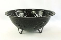 Black Granite Enamel Ware Colander Strainer 9 In Speckled Metal Camping Cookware