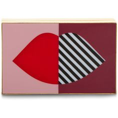 Lulu Guinness Multi 50:50 Stripe Lip Box Clutch (€320) ❤ liked on Polyvore featuring bags, handbags, clutches, striped purse, lulu guinness purse, lace clutches, hard clutch and lulu guinness handbags