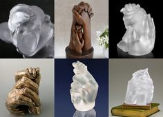 Family hands in glass and bronze, dad and baby hands by Wrightson and Platt