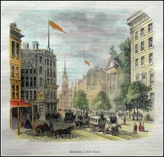 USA-New York -  Broadway . Graphic         : Wood Cut From             : Musee des Familles Size Picture  : 14 x 14 cm   Year              : + 1858 Hand coloured Printed text on reverse.