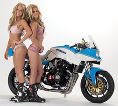 Chris Redpath MotoGPwerks Suzuki Katana LA Calednar Show sportbike winner, Jennifer Englund, Brit Shelstad