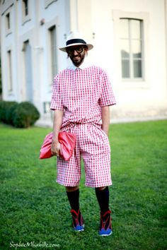 #manossamartzis #gingham #print #men #man #fashion #chic #red #hat #beard #style #look #clutch #outfit #streetchic #streetfashion #streetstyle #street #glasses #women #mode #milan #moda by #sophiemhabille