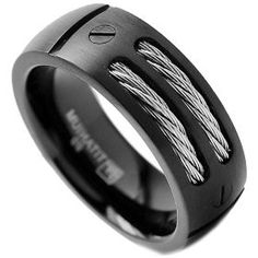 8mm mens black titanium ring wedding band with stainless steel cables and screw design size 11