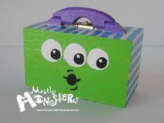 MiniTreasure box LITTLE GREEN MONSTER by MostlyMonstersCV on Etsy, $5.95