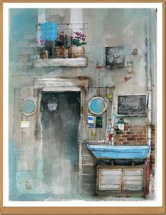 Taverna Azzurra Sorrento - Gianluigi Punzo - Naples - Napoli - Italy - Italia - Watercolor - Acquerello - Aquarelle - Acuarela