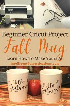 #sponsored A beginner Cricut project with a step by step photo tutorial and a video. How to make Fall them coffee mugs using the Cricut maker. Three colors of vinyl give these Dollar store mugs an expensive look. You can make a set of these in minutes. #Cricutproject #cricutebeginnerproject #Falldecor #fallcoffeebar #cricutcreated