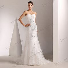 White Wedding Dress Wedding Gown ALine Elegant Corset by lassprom, $170.00