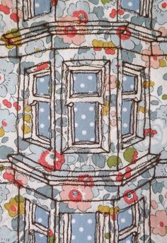 Floral Tenement Window mounted original by RoslynMitchellDesign Freehand Machine Embroidery, Free Motion Embroidery, Machine Embroidery Projects, Free Machine Embroidery, Embroidery Art, Machine Quilting, House Quilts, Fabric Houses, Fabric Art