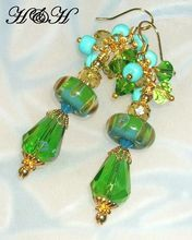 Blue and Green Borosilicate Glass Dangle Earrings on H & H Jewelry Designs on Rubylane.com (lovely items)