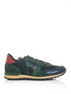 Nylon, suede and leather camo trainers