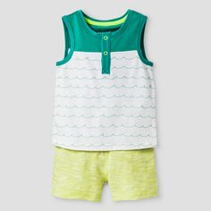 Be ready for the dog days of summer with the Baby Boys' Henley Tank and Knit Short Set - Baby Cat & Jack™ Yellow. This baby boys' outfit will keep him cool with a button up tank top and elastic waist knit shorts. Plus, it's all guaranteed. Cat & Jack is made to last, but if anything doesn't, you can return it up to 1 year later with your receipt.