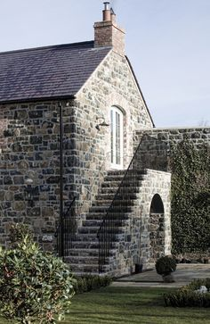 Country House Ireland - Hayburn & Co Railings Ireland Homes, House Ireland, Stone Cottage Homes, Barn House Conversion, External Staircase, Old Stone Houses, Garage Exterior, Stucco Homes, Cottage Renovation
