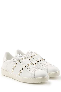 VALENTINO Rockstud Leather Sneakers. #valentino #shoes #