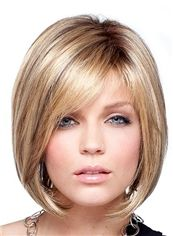 Charming Short Straight Blonde 12 Inch Human Hair Wigs