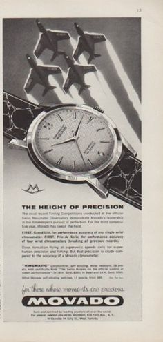 """Description: 1959 MOVADO vintage print advertisement """"The Height Of Precision""""-- Kingmatic Chronometer -- Size: The dimensions of the half-page advertisement are . Retro Ads, Vintage Ads, Vintage Prints, Old Watches, Vintage Watches For Men, Wrist Watches, Mont Blanc Watches, Jewellery Advertising, Breitling Watches"""