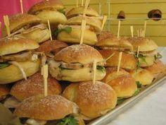 Small bites: cold sliced pork sandwiches with grain mustard.