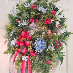 XL Wreath Front Door Wreath Pink and Blue Colors by LadybugWreaths, $149.97