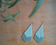 FREE SHIPPING/Minimalist mint Earrings/Fringe/Bead tassel/Woven/beaded/beadwork/triangle/minimal/casual/tribal/matte/normcore/blue