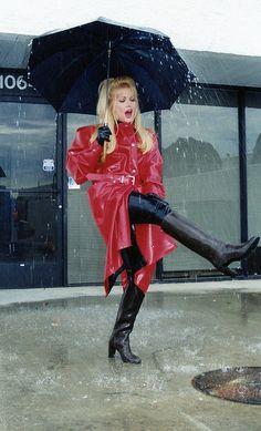 Best of the Best Rainwear Red Raincoat, Vinyl Raincoat, Long Leather Coat, Leather Jacket, Mudding Girls, Imper Pvc, Plastic Pants, Plastic Raincoat, Thigh High Boots Heels