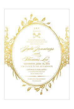 "Brides.com: . ""Antique Chic Foil"" wedding invitation with gold foil details, $425 for 100 invitations, Love vs Design"