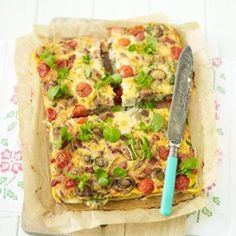 Frittatas are a great way of using up ends of cooked meats, herbs and cheeses left over in your fridge.