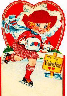 A Good Iceskater 1920s Vintage Valentine Digital Greetings Card Download Printable Images (352)