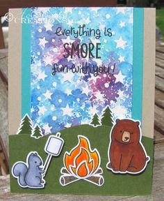 Die Cut Crazy Magazine July 2014, Lawn Fawn S'more Fun with you. Watercolor, Simon Says Stamp Stencil, Copic Markers, Hollybeary Creations