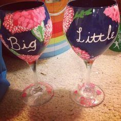 Big/Little Lilly wine glasses- so cute!