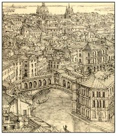 """228. """"Venice"""", drawing, pencil on off white paper, 2004 Richard Britell (s)"""