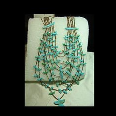 10 Strand All Turquoise Fetish Necklace with Shell Heishi