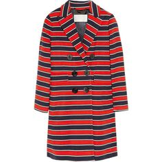 J.Crew Gondola striped stretch-wool coat ($225) ❤ liked on Polyvore featuring outerwear, coats, jackets, coats & jackets, stripes, tomato red, red coat, stripe coat, j crew coat and red double breasted coat