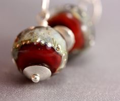 Silver Drop Earrings  Handmade Red and Silver by jacjewelry, $68.00
