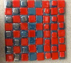 Grade 8 student's fused glass checker board.