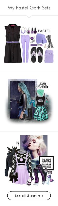 """My Pastel Goth Sets"" by kaorikuro ❤ liked on Polyvore featuring pastel, pastelgoth, Lancôme, Boohoo, Ballantyne, FitFlop, BaubleBar, OPI, Herschel Supply Co. and MV Maglieria Veneta"