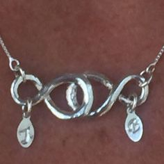 custom made to order, all 929 sterling silver. All handmade and fired by shug. Initials are stamped custom.  Message or email required to confirm lettering of necklace. $ 150.00