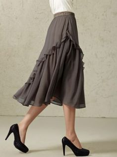 3colorS Oversized Chiffon Ruffled Sweet A Line Skirt XY30 plus 1x-10x (SZ 16-52)