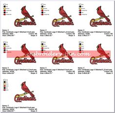 ST LOUIS CARDINALS BASEBALL SPORTS LOGO EMBROIDERY DESIGNS - Embroidery-Fun.com