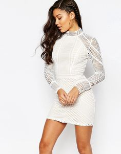 Image 1 ofMissguided Panel Lace Bodycon Mini Dress