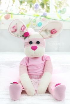 Pink Ballerina Bunny Rabbit Sock Doll