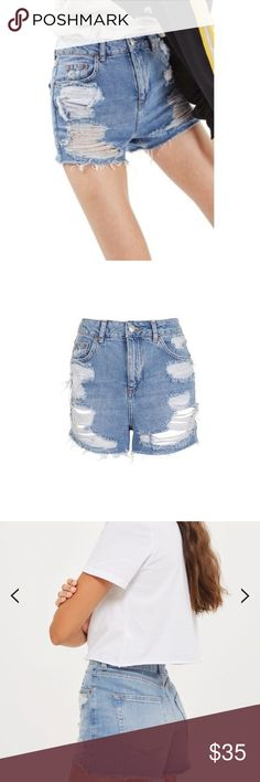 TOPSHOP ripped high waisted jean shorts Worn twice. Super cute and in perfect condition. US size 4 (fits like a 25-26) Topshop Shorts Jean Shorts