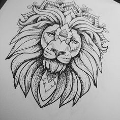 Luxury_dotwork_lion_in_mandala_crown_tattoo_design.jpg (640×640)