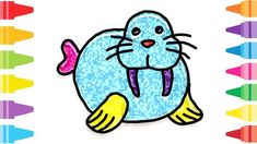 Glitter Walrus how to coloring and drawing for Kids & Color pages Fun At Work, Drawing For Kids, Coloring For Kids, Glitter, Make It Yourself, Drawings, Painting, Coloring Pages For Kids, Painting Art
