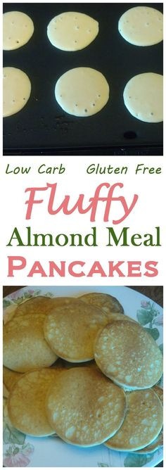 A nice fluffy gluten free pancake made from almond meal. These low carb almond meal pancakes are perfect served with butter and sugar free pancake syrup. Add some cinnamon and nutmeg Banting Recipes, Ketogenic Recipes, Gluten Free Recipes, Low Carb Recipes, Healthy Recipes, Healthy Meals, Ketogenic Diet, Carb Free Meals, Banting Diet