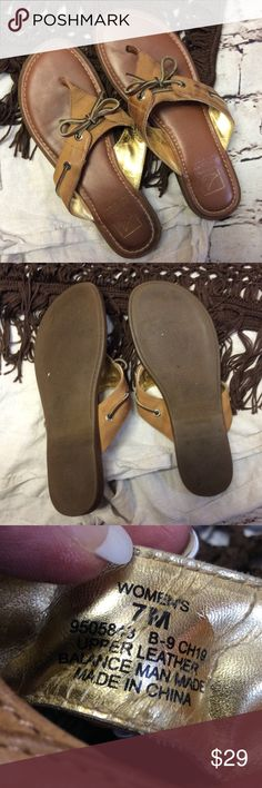 SPERRY TOPSIDER BROWN LEATHER SANDALS/SHOES Cute leather sandals with some variations in color from wear and aging of the leather.  It makes them have a distressed character. There's no damage to them and they are gently worn with a rubber sole Sperry Top-Sider Shoes Sandals