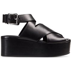 Alexander Wang Sandals ($594) ❤ liked on Polyvore featuring shoes, sandals, black, black sandals, leather buckle sandals, wedge heel sandals, black wedge shoes and leather sandals