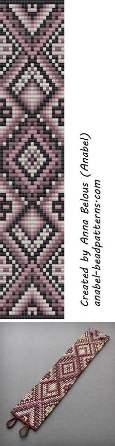 Схема браслета в сиреневых тонах - ткачество / гобеленовое плетение