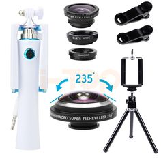 Universal Clips 235 degrees Fish eye Lens Wide Angle Macro Fisheye Lentes Mini Selfie Stick For iPhone 5 5s 6 6s 7 Xiaomi Huawei