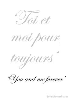♔ 'You and me forever.' Tu ed io per sempre Italian Love Quotes, French Love Quotes, French Sayings, Sweet Words, Love Words, Beautiful Words, French Phrases, French Words, How To Speak French