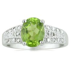 2 1/4ct Peridot And Diamond Ring In Sterling Silver
