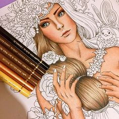 Blond Hair 😍❤️ Polychromos Color Pencils ❤️ #polychromos #fantasiacoloringbook #nickfilbert #wip #fabercastell